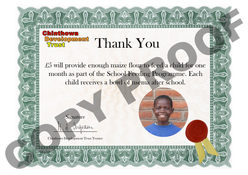 £5 Thank you certificate