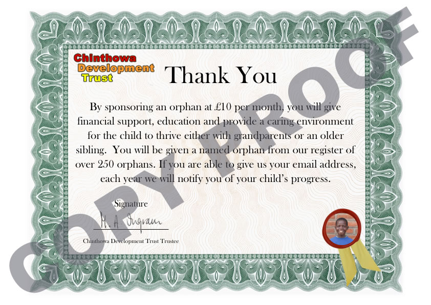 CDT thank you certificate Sponsor